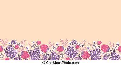 Strawberries horizontal seamless pattern background border