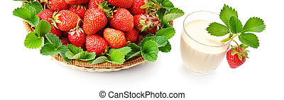 strawberries in a basket and berry smoothies isolated on white background