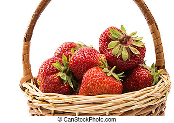 strawberries in a basket isolated