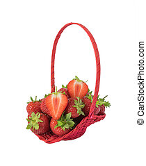 Strawberries in a basket. Isolated on white background.