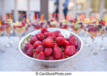 Strawberries in a metal plate