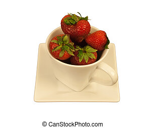 Strawberries in a square cup - Ripe strawberries in a cream...
