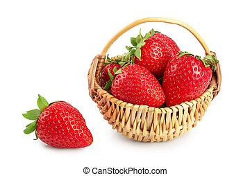 strawberries in a wicker basket isolated on white background