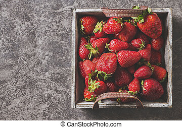 Strawberries in a wooden basket