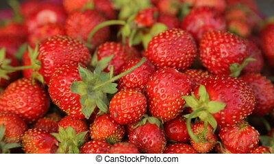Strawberries in bowl in closeup