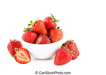 Strawberries in bowl isolated on a white background