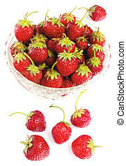 Strawberries in bowl isolated on white background