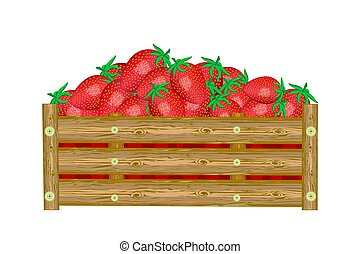 Strawberries in box isolated on white background. Crate of ...