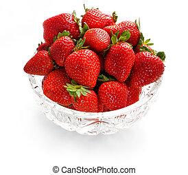 Strawberries in crystal bowl