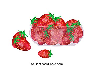 Strawberries in glass bowl isolated on white background. - ...