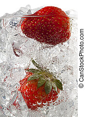 strawberries in ice cubes