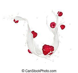 Strawberries in milk splash, isolated on white background