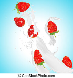 Strawberries in milk splash