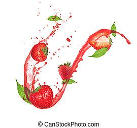Strawberries in splash, isolated on white background
