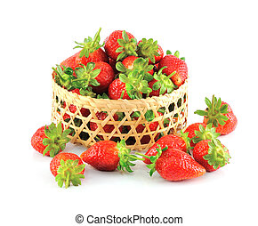 Strawberries in the Basket isolated on white background