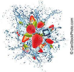 Strawberries in water splash on white background