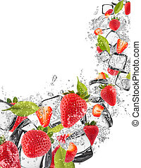 Strawberries in water splash on white background