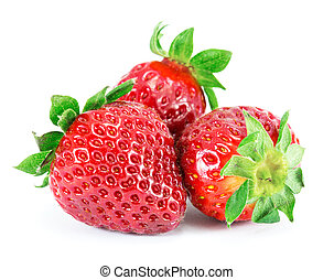 Strawberries, isolated on a white background.