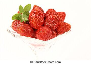 Strawberries & lemon balm twig