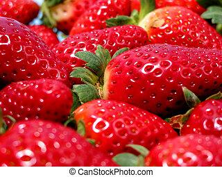 Strawberries macro - Bright red strawberries, closeup