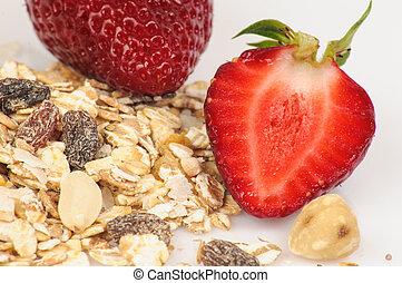 Strawberries, oatmeal and raisins