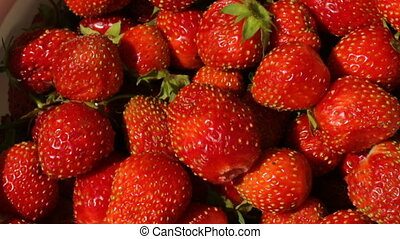 Strawberries on plate in closeup