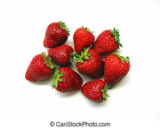 Strawberries On White Background - fresh red strawberries on...