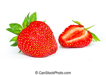 strawberries on white - Fresh strawberries isolated on white...