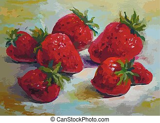 Strawberries, original oil painting on canvas