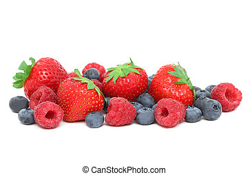 Strawberries, raspberries and blueberries (isolated) -...