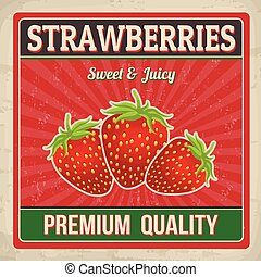 Strawberries retro poster
