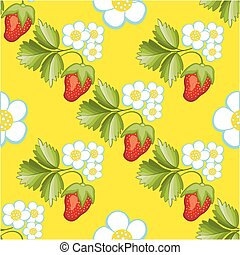 Strawberries seamless hand drawn vector pattern