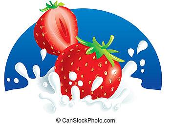 Strawberries splashing in milk - Two strawberries falling in...