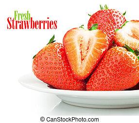 strawberries  - Fresh ripe strawberries on a plate
