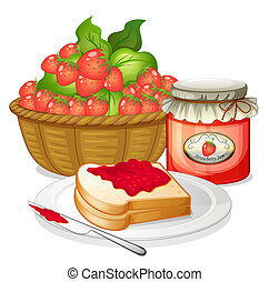 Strawberries, strawberry jam and a sandwich - Illustration...