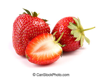 strawberries two and half isolated on white