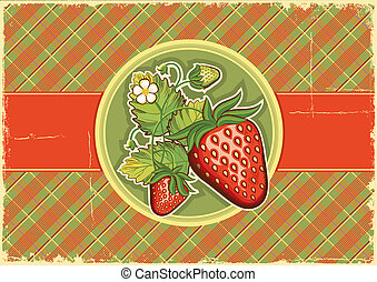 Strawberries vintage background.Vector label illustration