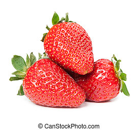 strawberries., vrijstaand, op, een, witte , achtergrond.