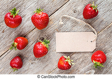 Strawberries with blank tag