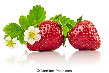 Strawberries with green leaf and flowers isolated