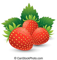 Strawberries with leaves. Isolated on a white background