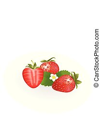 Strawberries with leaves on white background