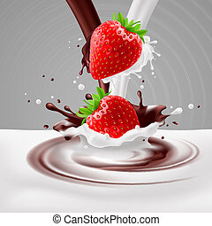 Strawberries with milk and chocolate