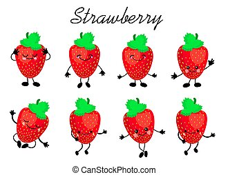 strawberry., かわいい, 隔離された, セット, 特徴, フルーツ, ベクトル, white.