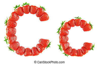 Strawberry alphabet - C - Photorealistic 3d render