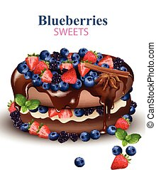 Strawberry and Blueberries chocolate cake Realistic Vector illustration on white backgrounds