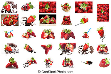 Strawberry and chocolate collage on the white