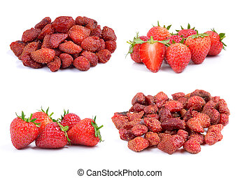 Strawberry and dried strawberries isolated on a white...