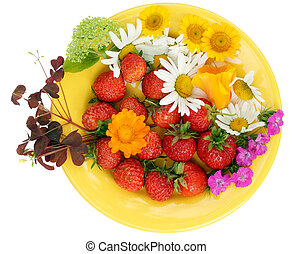Strawberry and flowers mix