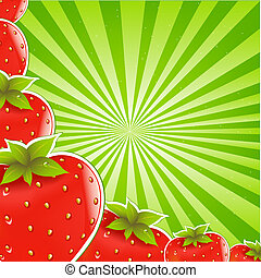 Strawberry And Green Sunburst Background, Vector...